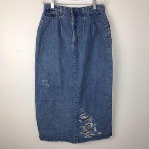 Vintage | Denim Maxi Skirt Destroyed High Waist